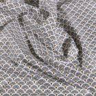 Tissu Coton enduit Arty Éventails kaki sur fond Blanc - Par 10 cm