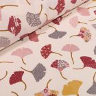 Tissu Coton imprimé Arty Ginkgo bordeaux et rose sur fond Blanc cassé - Par 10 cm