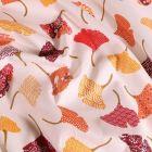 Tissu Coton imprimé Arty Ginkgo jaune orangé sur fond Blanc - Par 10 cm