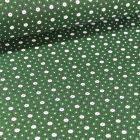 Tissu Coton imprimé Arty Etoiles et pois sur fond Vert - Par 10 cm