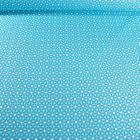 Tissu Coton imprimé Arty Etoiles et pois sur fond Bleu turquoise - Par 10 cm