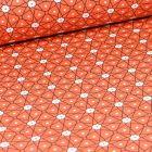 Tissu Coton enduit Etoiles et pois sur fond Orange