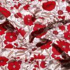 Tissu Coton imprimé Arty Bouton d'or rouge sur fond Blanc - Par 10 cm