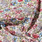 Tissu Coton imprimé Arty Bouton d'or rouge, vert et bleu sur fond Blanc - Par 10 cm