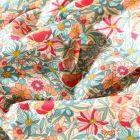 Tissu Coton imprimé Arty Bouton d'or rose et vert menthe sur fond Blanc - Par 10 cm