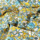 Tissu Coton imprimé Arty Bouton d'or bleu et blanc sur fond Jaune curry - Par 10 cm