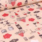 Tissu Coton enduit Arty Vignobles sur fond Beige
