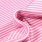 Tissu Bord côte  Rayé rose sur fond Blanc