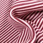 Tissu Bord côte  Rayé bordeaux sur fond Blanc