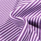 Tissu Bord côte  Rayé violet sur fond Blanc