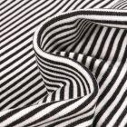 Tissu Bord côte  Rayé noir sur fond Blanc
