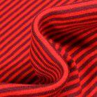 Tissu Bord côte  Rayé bordeaux sur fond Rouge