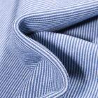 Tissu Bord côte Fines rayures bleus sur fond Blanc