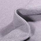 Tissu Bord côte Fines rayures grises sur fond Blanc