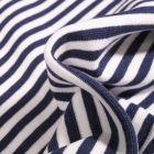 Tissu Bord côte Rayures 5mm bleu marine sur fond Blanc