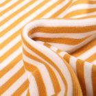 Tissu Bord côte Rayures 5mm jaune sur fond Blanc