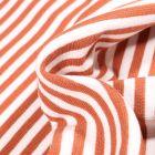 Tissu Bord côte Rayures 5mm orange sur fond Blanc
