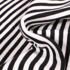 Tissu Bord côte Rayures 5mm noires sur fond Blanc