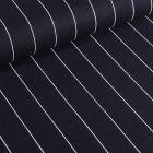 Tissu Viscose Lin Rayures fines et blanches sur fond Bleu marine - Par 10 cm