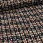 Tissu Tweed coloré sur fond Camel - Par 10 cm