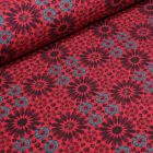 Tissu Jersey Coton Marguerites stylisées sur fond Rouge foncé - Par 10 cm