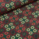 Tissu Jersey Coton Marguerites stylisées sur fond Vert foncé - Par 10 cm