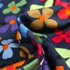 Tissu Jersey Viscose Stella Pensées colorées sur fond Bleu marine