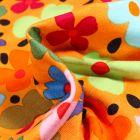 Tissu Jersey Viscose Stella Pensées colorées sur fond Jaune