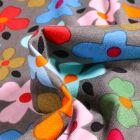Tissu Jersey Viscose Stella Pensées colorées sur fond Gris