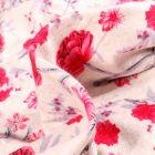 Tissu Jersey Viscose Lin Pivoines rouges sur fond Ecru