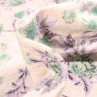 Tissu Jersey Viscose Lin Pivoines vertes sur fond Ecru