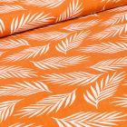 Tissu Viscose Popeline Feuilles de palme blanches sur fond Orange