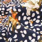 Tissu Crêpe Pois et fleurs sur fond Bleu marine