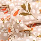 Tissu Crêpe Pois et fleurs sur fond Beige sable