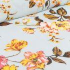 Tissu Mousseline Branches de cerisier et pivoines sur fond Bleu ciel