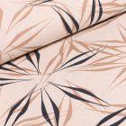 Tissu Viscose Lin Feuilles abstraites sur fond Beige