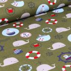 Tissu Coton imprimé LittleBird Baleines et motifs marin sur fond Vert kaki