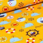 Tissu Coton imprimé LittleBird Baleines et motifs marin sur fond Jaune