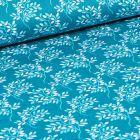 Tissu Coton imprimé LittleBird Branches fleuris sur fond Bleu turquoise