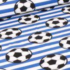 Tissu Coton imprimé Ballons de foot et rayures bleues sur fond Blanc