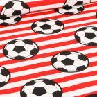 Tissu Coton imprimé Ballons de foot et rayures rouge sur fond Blanc