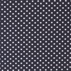 Tissu Coton imprimé Bleu marine Pois 8 mm Blancs - Par 10 cm