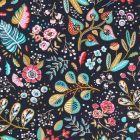 Tissu Coton Imprimé Arty Fleurs et feuilles sur fond Gris ardoise - Par 10 cm