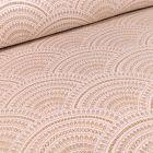 Tissu Jacquard Eventails dorés sur fond Blanc