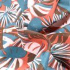 Tissu Coton imprimé Arty Gwada sur fond Terre de Sienne