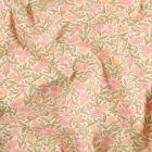 Tissu Coton imprimé Arty Joanne Rose et orange sur fond Blanc - Par 10 cm