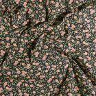 Tissu Coton imprimé Arty Joanne Rose et orange sur fond Noir - Par 10 cm
