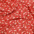 Tissu Coton imprimé Arty Joanne Rose et blanc sur fond Rouge - Par 10 cm