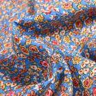 Tissu Viscose Arty Julia sur fond Bleu