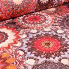 Tissu Jacquard damassé Mandala sur fond Terre de Sienne